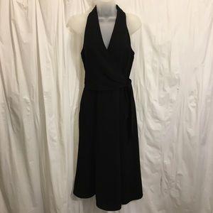 Jones New York Sz 6 Midi Black Dress Wrap Top